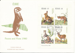 Ireland FDC 30-8-1980 Minisheet / Block Complete Flora Fauna 1980 With Nice Cachet - FDC