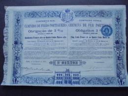 PORTUGAL, LISBOA 1895 - CIE ROYALE DES CHEMINS DE FER PORTUGAIS - OBLIGATION 3% DE 500 FRS OR - DECO - - Shareholdings