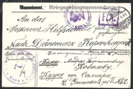 WWI 1915 Envelope From Russian ? P.O.W. From OffizierKriegsgefangenenlager Mewe (now Gniew Poland) To Denmark - Occupation 1914-18