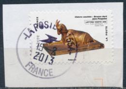 France - Animaux Dans L'Art (Chèvre) YT A775 Obl. Cachet Rond Manuel Sur Fragment - Adhésifs (autocollants)