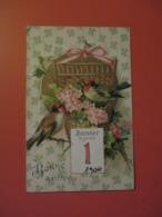 Cpa Gauffrée De Décembre 1905_Bonne ANNEE_1 Er Janvier 1906_ROUGE GORGES Dans Un Panier Enrubanne & Jolies Fleurs - New Year