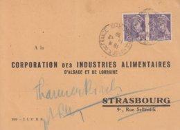 CP Affr Y&T 412 X 2 Obl MULHOUSE R. DE FRANCE Du 14.12.39 Adressée à Strasbourg évacuée à Thannenkirch - Marcophilie (Lettres)