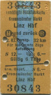 Österreich - Kremsmünster Markt Linz Hbf. Und Zurück - Ermäßigte Rückfahrkarte - Fahrkarte 2. Kl. Personenzug S12.00 195 - Bahn