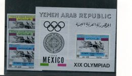 A32983)Olympia 68: Jemen Arab. Rep. 745 - 747** + Bl 72** - Sommer 1968: Mexico