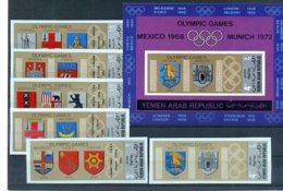 A32995)Olympia 68: Jemen Arab. Rep. 839 - 844** + Bl 84** - Estate 1968: Messico