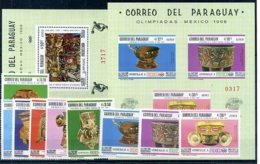 A33069)Olympia 68: Paraguay 1788 - 1796** + Bl 107** + 108** - Sommer 1968: Mexico