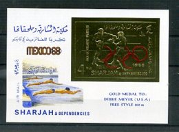 A33155)Olympia 68: Sharjah Bl 46 B**, Goldmedaillie Meyer - Zomer 1968: Mexico-City