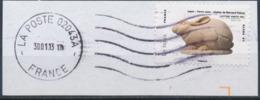 France - Animaux Dans L'Art (Lapin) YT A776 Obl. Ondulations Et Dateur Rond Sur Fragment - Adhésifs (autocollants)