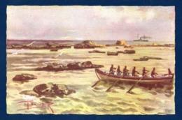 Palestine. Jaffa, Les écueils, Barque Et Navire Au Large. Illustrateur  Rodolfo Paoletti ( 1866-1940) - Palestine