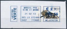 France - Animaux Dans L'Art (Buffle) YT A777 Obl. Annulation Par Machine à Affranchir  Sur Fragment - Adhésifs (autocollants)