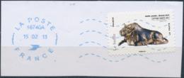 France - Animaux Dans L'Art (Buffle) YT A777 Obl. Ondulations Et Dateur Rond Bleu Sur Fragment - Adhésifs (autocollants)