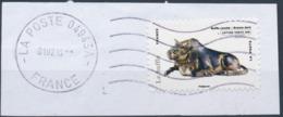 France - Animaux Dans L'Art (Buffle) YT A777 Obl. Ondulations Et Dateur Rond Sur Fragment - Adhésifs (autocollants)