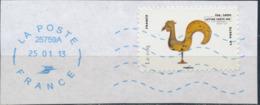 France - Animaux Dans L'Art (Coq) YT A778 Obl. Ondulations Et Dateur Rond Bleu Sur Fragment - Adhésifs (autocollants)