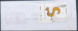 France - Animaux Dans L'Art (Coq) YT A778 Obl. Flamme Et Dateur Rond (Corse) Sur Fragment - Adhésifs (autocollants)