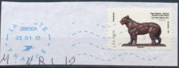 France - Animaux Dans L'Art (Tigre) YT A779 Obl. Ondulations Et Dateur Rond Bleu Sur Fragment - Adhésifs (autocollants)