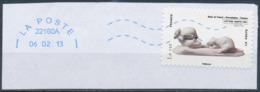 France - Animaux Dans L'Art (Rats) YT A780 Obl. Ondulations Et Dateur Rond Bleu Sur Fragment - Adhésifs (autocollants)