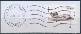 France - Animaux Dans L'Art (Rats) YT A780 Obl. Ondulations Et Dateur Rond Sur Fragment - Adhésifs (autocollants)