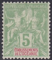 French Oceania, Scott #5, Mint Hinged, Navigation And Commerce, Issued 1892 - Oceania (1892-1958)