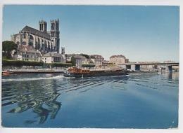 Mantes La Jolie : La Seine Et La Collégiale (pont, Péniche) N°3 - Mantes La Ville