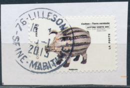 France - Animaux Dans L'Art (Cochon) YT A781 Obl. Cachet Rond Manuel Sur Fragment - Adhésifs (autocollants)