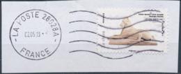 France - Animaux Dans L'Art (Chien) YT A783 Obl. Ondulations Et Dateur Rond Sur Fragment - Adhésifs (autocollants)