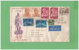 1969 INDIA GANDHI CENTENARY AIR MAIL COVERT WITH 8 STAMPS TO SWISS - Panama