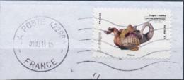 France - Animaux Dans L'Art (Dragon) YT A784 Obl. Ondulations Et Dateur Rond Sur Fragment - Adhésifs (autocollants)