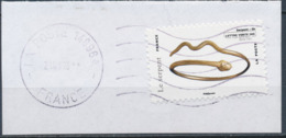 France - Animaux Dans L'Art (Serpent) YT A785 Obl. Ondulations Et Dateur Rond Sur Fragment - Adhésifs (autocollants)