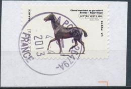 France - Animaux Dans L'Art (Cheval) YT A786 Obl. Cachet Rond Manuel Sur Fragment - Adhésifs (autocollants)