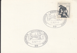 83671- AUGSBURG PHILATELIC EXHIBITION SPECIAL POSTMARK ON THICK PAPER, DANTE ALIGHIERI STAMP, 1971, WEST GERMANY - Covers & Documents