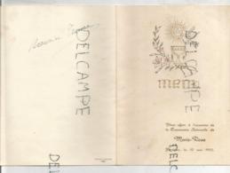 Menu De Communion De Marie-Rose Le 10 Mai 1953. Dorée. - Menus