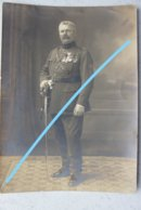 Photo ABL Officier Belge Grand Format Circa 1920 Uniforme Sabre Sword Médailles Décorations Militaria Belgische Leger - Oorlog, Militair