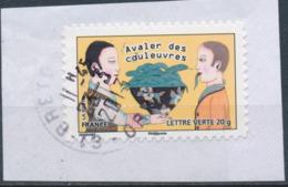 """France - Sourires 2013 - """"Avaler Des Couleuvres..."""" YT A794 Obl. Cachet Rond Manuel Sur Fragment - Adhésifs (autocollants)"""
