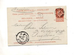 Carte Postale 10 C Roi Cachet Bruxelles + Augsburg - Stamped Stationery