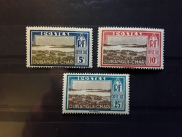 OUBANGUI CHARI , Taxe , Vue De Mobaye , 3 Timbres Yvert No 12, 13 , 15 , Neufs * MH TB - Oubangui (1915-1936)
