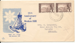 Australia FDC 10-9-1958 75th Anniversary Of Broken Hill In Pair With Cachet Sent To Denmark - FDC
