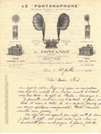 FACTURE COURRIER COMMERCIAL A FONTANON PARIS 1926 LE FONTANOPHONE Machines Parlantes Phonographe Pavillon Automatique - Francia