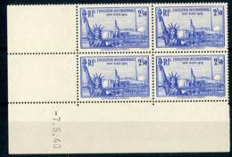 """N° 458 ** (MNH) Cote 180 €. Coin Daté Du 7/5/40. Bloc De Quatre """"Exposition Internationale De New York"""". - Dated Corners"""