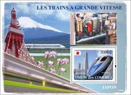 COMORES 2008 - Trains Japanese / Shinkansen. YT 116, Mi 1903/BL443, Sc 1004 - Comores (1975-...)