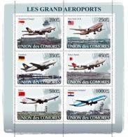 COMORES 2008 - Top Airports. YT 1243-1248, Mi 1937-1942, Sc 1007 - Comores (1975-...)