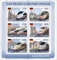 COMORES 2008 - Trains Germany / ICE. YT 1309-1314, Mi 1869-1874, Sc 1017 - Comoros