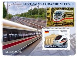 COMORES 2008 - Trains Germany / ICE. YT 133, Mi 1899/BL439, Sc 1018 - Comoros