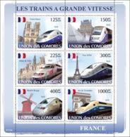 COMORES 2008 - Trains France / TGV. YT 1303-1308, Mi 1875-1880, Sc 1019 - Comores (1975-...)