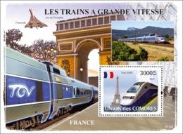 COMORES 2008 - Trains France / TGV. YT 132, Mi 1900/BL440, Sc 1020 - Comoros