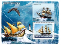 COMORES 2008 - Sail Ships, Lighthouses. YT 130, Mi 1922/BL444, Sc 1024 - Comoros