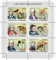 COMORES 2008 - Mycologists & Mushrooms. YT 1321-1326, Mi 2051-2056, Sc 1055 - Isole Comore (1975-...)