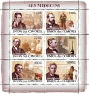 COMORES 2008 - Doctors Celebrities (H.Davy, R.Koch, E.A. Von Behring..). YT 1375-1380, Mi 1981-1986, Sc 1037 - Komoren (1975-...)