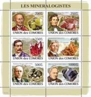 COMORES 2008 - Mineralogists & Minerals (I.Doneika, J.D.Dana, W.Niven..). YT 1381-1386, Mi 2037-2042, Sc 1051 - Comores (1975-...)