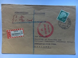 GERMANY 1960 Registered Elgershausen Cover To Ministry Of Pensions Newcastle England With Circular Cachet - [7] République Fédérale