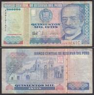 Peru 500000 500.00 Intis Banknote 1986 F- (4-) Pick 146  (24697 - Banknotes